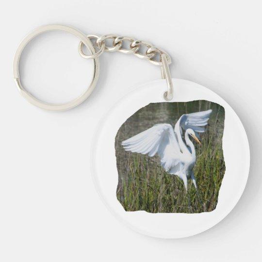 White Egret landing in marsh Keychain