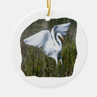 White Egret landing in marsh Double-Sided Ceramic Round Christmas Ornament