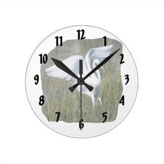 White Egret landing in marsh Round Clock