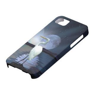 White Egret & Moon Fantasy Wildlife Art Phone Case iPhone 5 Cover