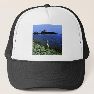 White Egret On Rocky Shore Line Trucker Hat