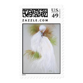 White Egret Postage Stamp