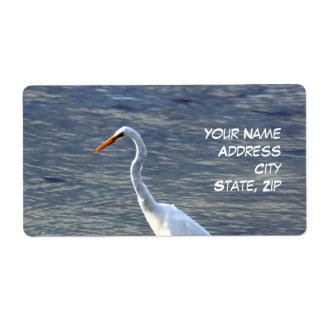 White Egret return Shipping Labels