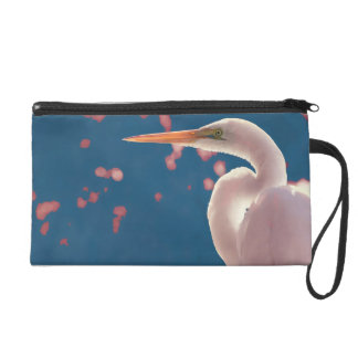 white egret right side blue back wristlet clutches