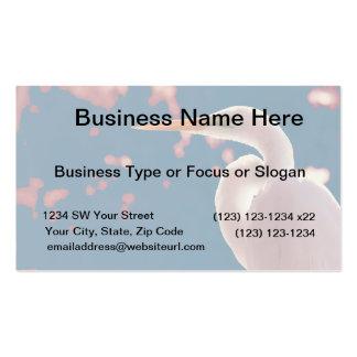 white egret right side blue back business card