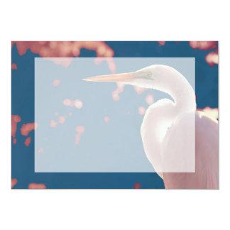 white egret right side blue back card