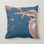 white egret right side blue back pillow