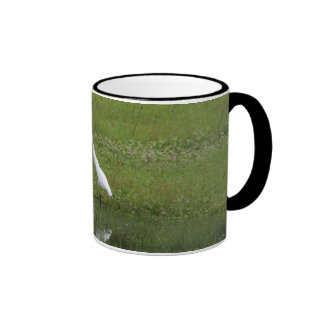 White egret ringer mug