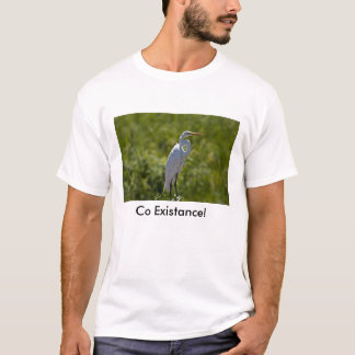 white_egret standing, Co Existance! T-Shirt