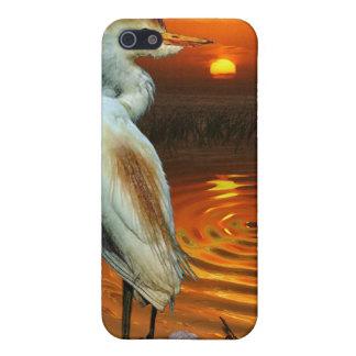 White Egret & Sunset Wildlife iPhone Cases