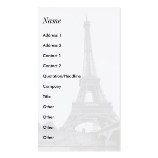 White Eiffel Tower Business Cards