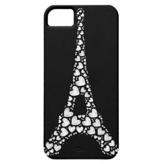 White Eiffel Tower with hearts iPhone 5 Cover