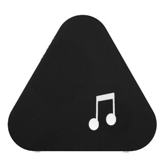 White Eighth Notes on Black Background Bluetooth Speaker