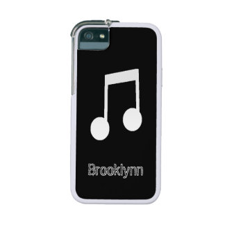 White Eighth Notes on Black Background Case For iPhone 5