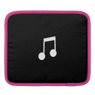 White Eighth Notes on Black Background iPad Sleeve