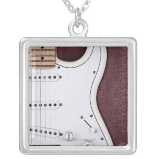 White Electric Guitar 2 Silver Plated Necklace