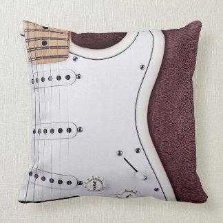 White Electric Guitar 2 Throw Pillow