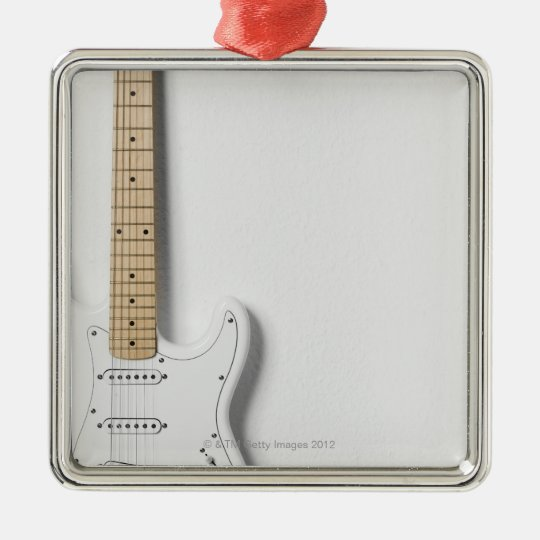 White Electric Guitar 3 Metal Ornament