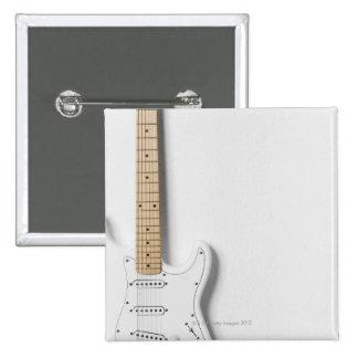 White Electric Guitar 3 Pinback Button