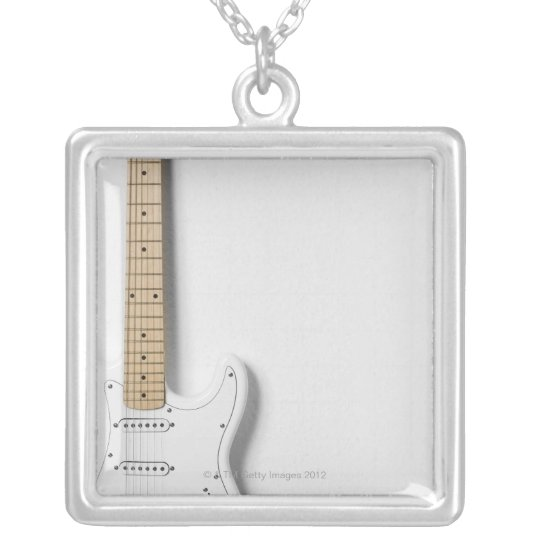 White Electric Guitar 3 Silver Plated Necklace