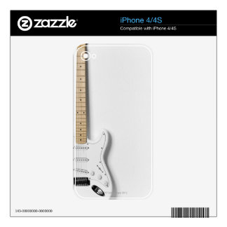 White Electric Guitar 3 Skin For iPhone 4