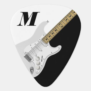 White Electric Guitar Guitar Pick by oldrockerdude at Zazzle