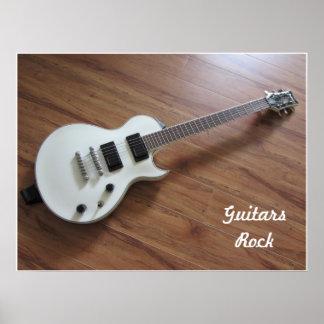 White Electric Guitar Print