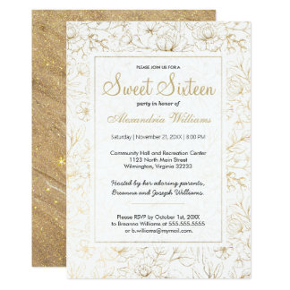 White elegant faux gold glitter floral Sweet 16 Card
