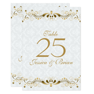 White & Elegant Gold Lace Frame Card