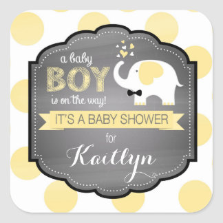 White Elephant Bow-tie Dot Baby Shower Square Sticker