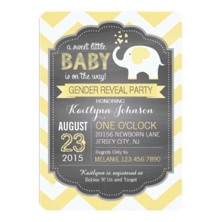 White Elephant Chevron Gender Reveal Baby Shower Card