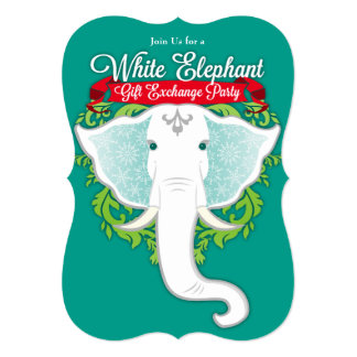 white elephant exchange invitations  announcements  zazzle, Party invitations