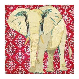 White Elephant Damask Canvas