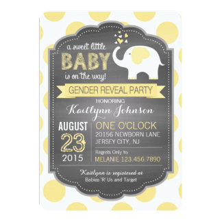 White Elephant Dots Gender Reveal Baby Shower Card