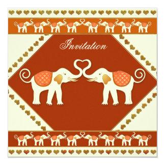 "White Elephant Festive Wedding Invitation 5.25"" Square Invitation Card"