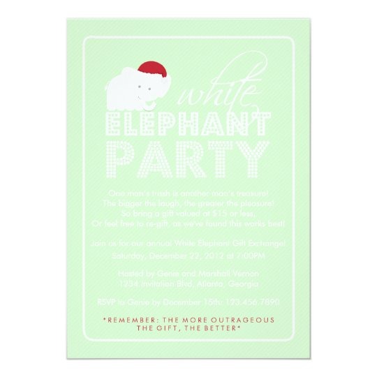 White Elephant Gift Exchange Holiday Party Card