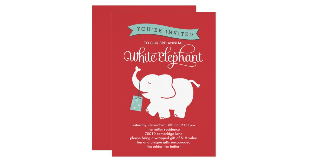White elephant gift exchange holiday party invite Good gifts for gift exchange