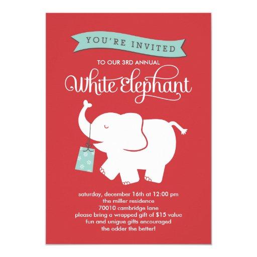 White Elephant Gift Exchange Holiday Party Invite | Zazzle