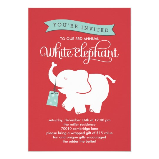 White elephant gift exchange holiday party invite zazzle white elephant gift exchange holiday party invite negle Gallery