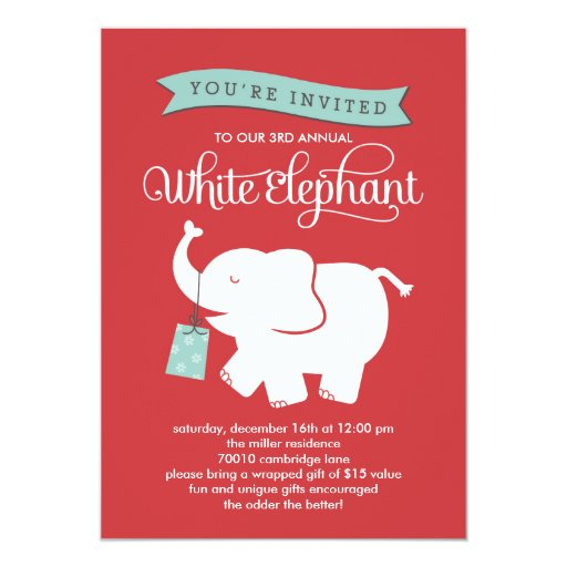 "White Elephant Gift Exchange Holiday Party Invite 5"" X 7"" Invitation Card | Zazzle"