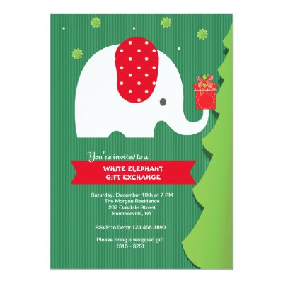 White elephant gift exchange party invitation zazzle negle Gallery