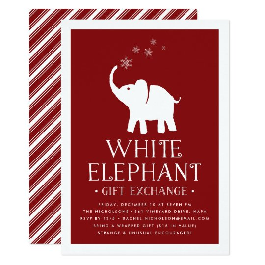 White elephant gift exchange party invitation zazzle white elephant gift exchange party invitation negle Choice Image