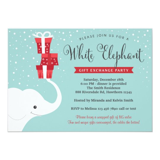 White Elephant Invitation Christmas Party Invite Zazzle Com