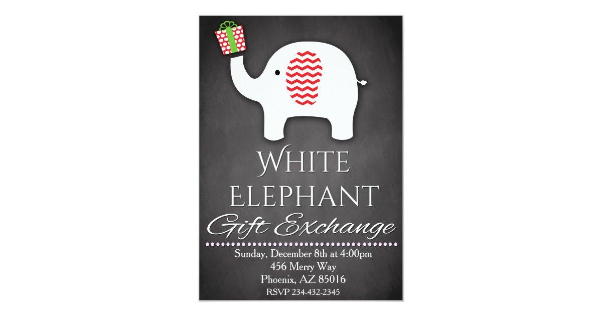 White Elephant Invitation, Gift Exchange Invite Zazzle