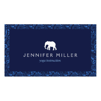 WHITE ELEPHANT LOGO with VINTAGE BLUE PATTERN Business Card Templates