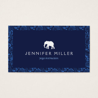 WHITE ELEPHANT LOGO with VINTAGE BLUE PATTERN Business Card