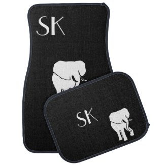White Elephant Monogram Car Floor Mats Floor Mat