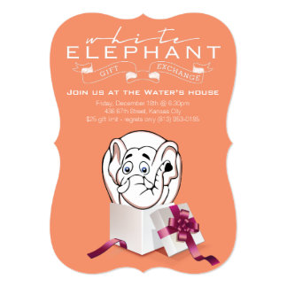 white elephant exchange invitations & announcements | zazzle, Party invitations