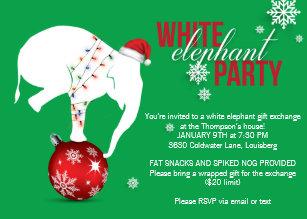 white elephant christmas invitations zazzle