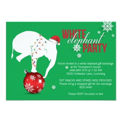 white elephant gift exchange party invitation zazzlecom - White Elephant Christmas Party